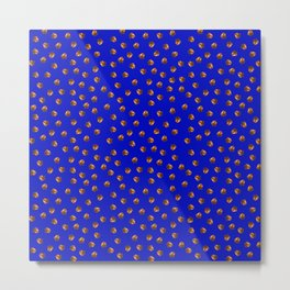 Acorn Pattern-Deep Blue Metal Print