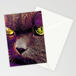 persian cat great eyes evil look vector art late sunset Stationery Cards