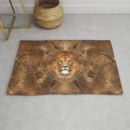 Lion Sacred Geometry Digital Art Rug