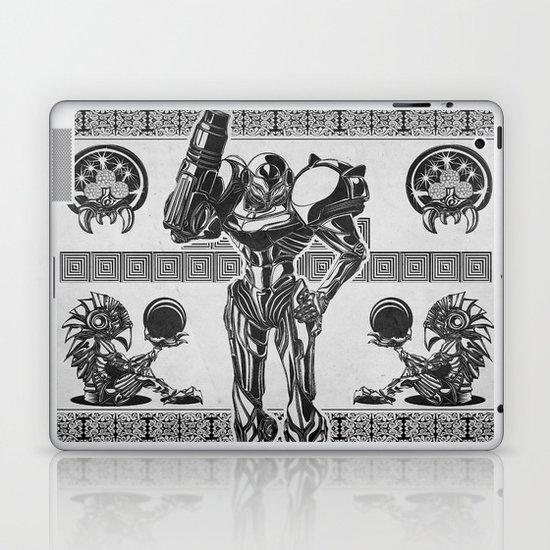 Metroid - Samus Aran Line Art Vector Character Poster Laptop & iPad Skin