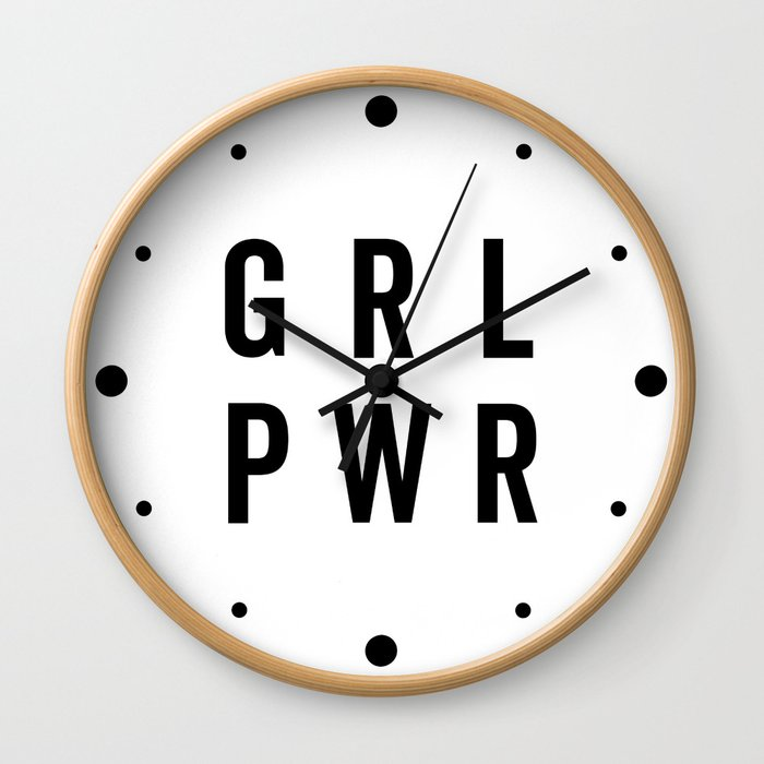 GRL PWR / Girl Power Quote Wall Clock