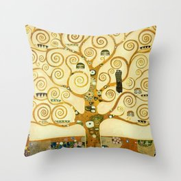 Gustav Klimt The Tree Of Life Throw Pillow
