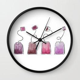 Pink Tea Bags Wall Clock