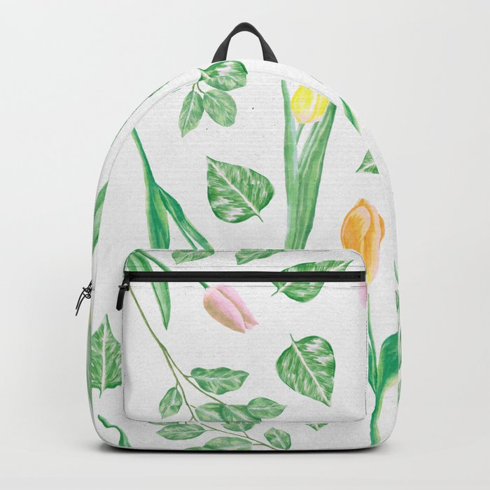 Tulips Floral Pattern Backpack