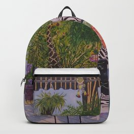 Garden Deck With Blue Barbecue Backpack