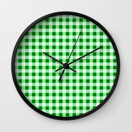 Gingham Green and White Pattern Wall Clock