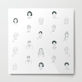 Sketchy People | Pattern Art Metal Print