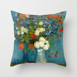 Vincent Van Gogh Vase With Cornflowers And Poppies Throw Pillow