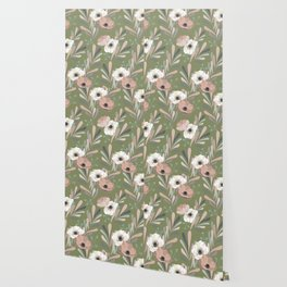 Anemones & Olives - Green Wallpaper