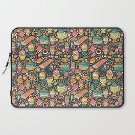 Tea party pattern on chocolate Laptop Sleeve