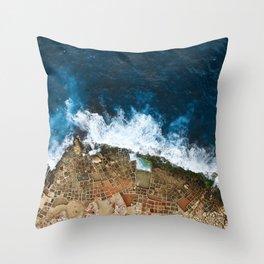 An aerial shot of the Salt Pans in Marsaskala Malta Throw Pillow
