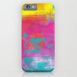 Neon Abstract Acrylic - Turquoise, Magenta & Yellow iPhone Case