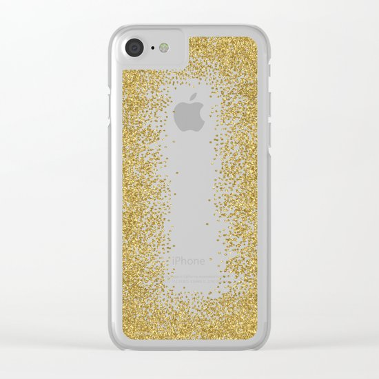 Sparkling gold glitter confetti on black backround- Luxury pattern Clear iPhone Case