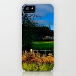 Golden Evening Light Across A Field iPhone Case
