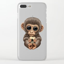 Cute Baby Monkey With Football Soccer Ball Clear iPhone Case