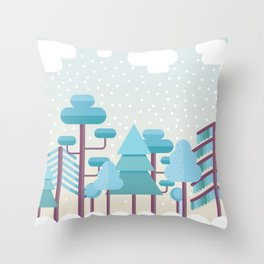 Snowy Winter Forest Throw Pillow