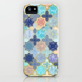 Cream, Navy and Aqua Geometric Tile Pattern iPhone Case