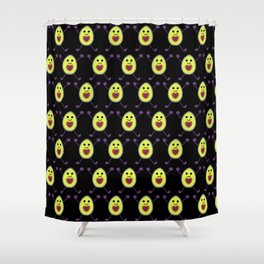 Let's Avocuddle AVOCADO - dark bg Shower Curtain