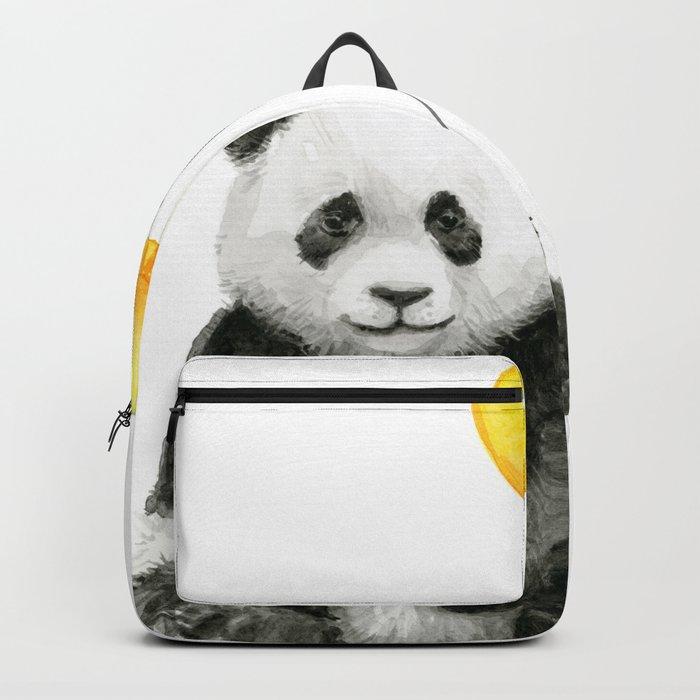 Panda Watercolor Animal with Yellow Balloon Nursery Baby Animals Backpack