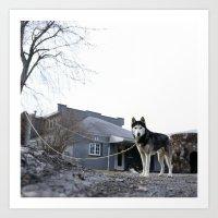 husky Art Prints featuring Husky by Mikey Tnasuttimonkol