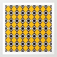 Orange diamond & circles pattern Art Print