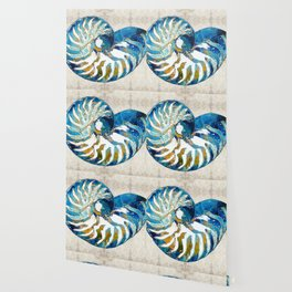 Beachy Art - Nautilus Shell Bleu - Sharon Cummings Wallpaper