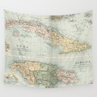 jamaica Wall Tapestries featuring Vintage Map of Cuba and Jamaica (1892)  by BravuraMedia