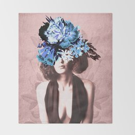 Floral Woman Vintage Blue and Pink Rose Gold Throw Blanket