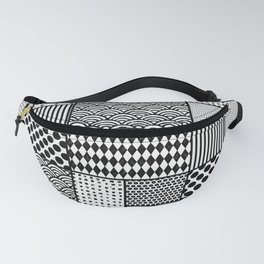 Black patterns in rectangles and squares Fanny Pack