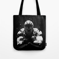 bane Tote Bags featuring Bane by Sam Rowe Illustration