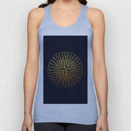 The golden compass- maritime print with gold ornament Unisex Tank Top