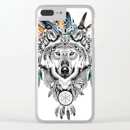 Bohemian Wolf with Feather Headdress Clear iPhone Case