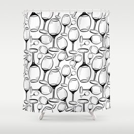 Print with wine glasses. Drawn wine glasses, sketch style. Black on white Shower Curtain