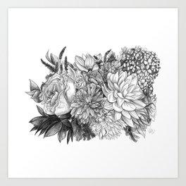 Dahlia + Rose Bouquet - BW Art Print