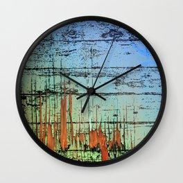 Blue cracked wood Wall Clock