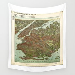 Aerial View of Brooklyn, New York (1908) Wall Tapestry