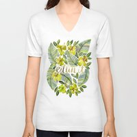 yellow V-neck T-shirts featuring Killin' It – Tropical Yellow by Cat Coquillette