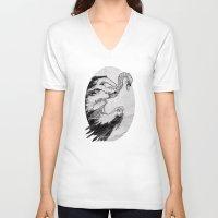 swan V-neck T-shirts featuring swan by vasodelirium