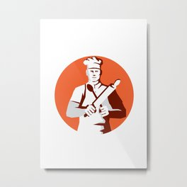 Chef Cook Rolling Pin Spatula Stencil Metal Print