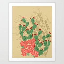 Locust Cider Cactus on Sand Art Print