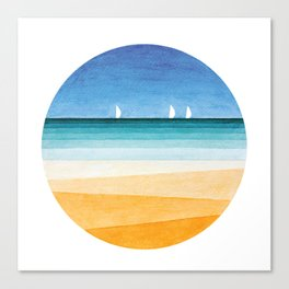 Yachts sea beach watercolor geometric Canvas Print