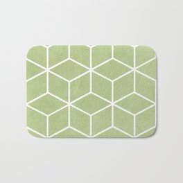 Lime Green and White - Geometric Textured Cube Design Bath Mat