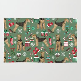 Airedale Terrier Christmas dog print dog pattern airedale pillow airedale phone case Rug