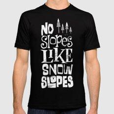 No Slopes Like Snow Slopes MEDIUM Black Mens Fitted Tee