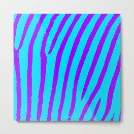 Zebra Print (Blue & Purple) Metal Print