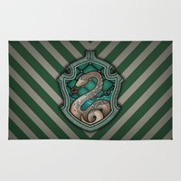 slytherin Area & Throw Rugs featuring Hogwarts House Crest - Slytherin by Teo Hoble