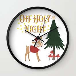 Oh Holy Night Christmas Deer Wall Clock