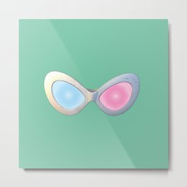 Blue and Pink Cat Eye Glasses Metal Print