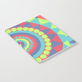 Bright Geometrical Abstract Circles and Triangles Flowers Notebook