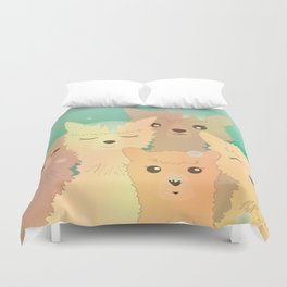 Alpaca Family I - Mint Green Snow Background Duvet Cover